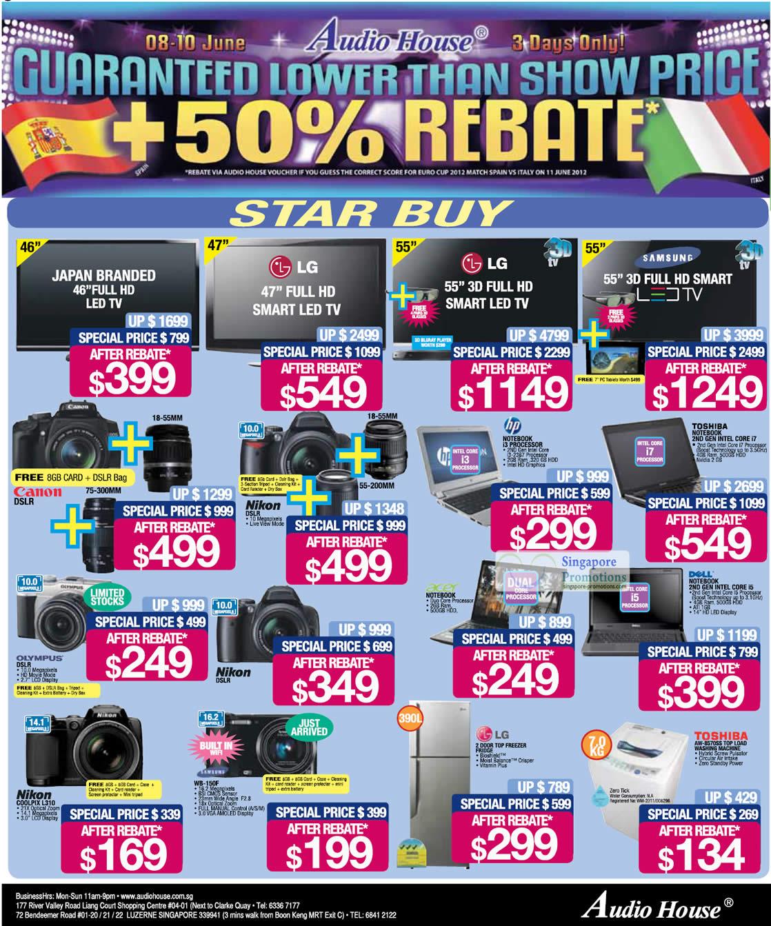 TOSHIBA AW-8570SS Washer, Nikon COOLPIX L310 Digital Camera, Samsung WB-150F Digital Camera