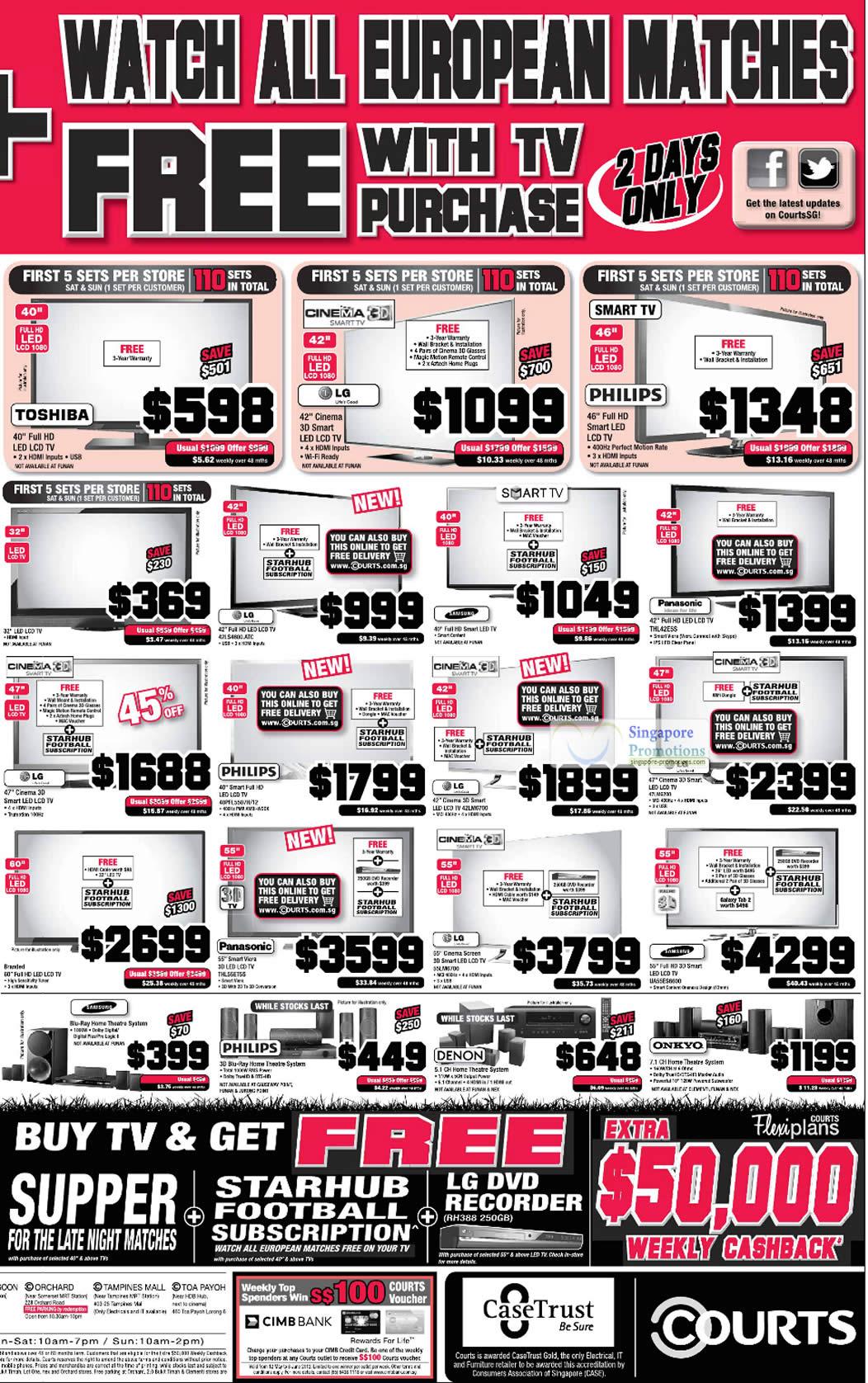 LED TVs, LCD TVs, Home Theatre Systems, Toshiba, LG, Philips, Panasonic, Samsung, Denon, Onkyo