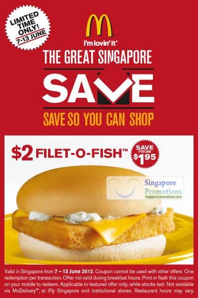 Mcdonald s singapore 2 filet o fish burger coupon 7 13 for Filet o fish deal