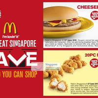Read more about McDonald's Singapore $1 Cheeseburger / $2 20pc McBites Coupon 21 - 27 Jun 2012