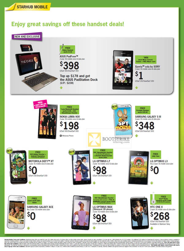 Mobile ASUS PadFone, Sony Xperia Sola, Nokia Lumia 900, Samsung Galaxy S III, Samsung Galaxy Ace, Motorola Defy XT, LG Optimus L7, LG Optimus L3, LG Optimus Max, HTC One X