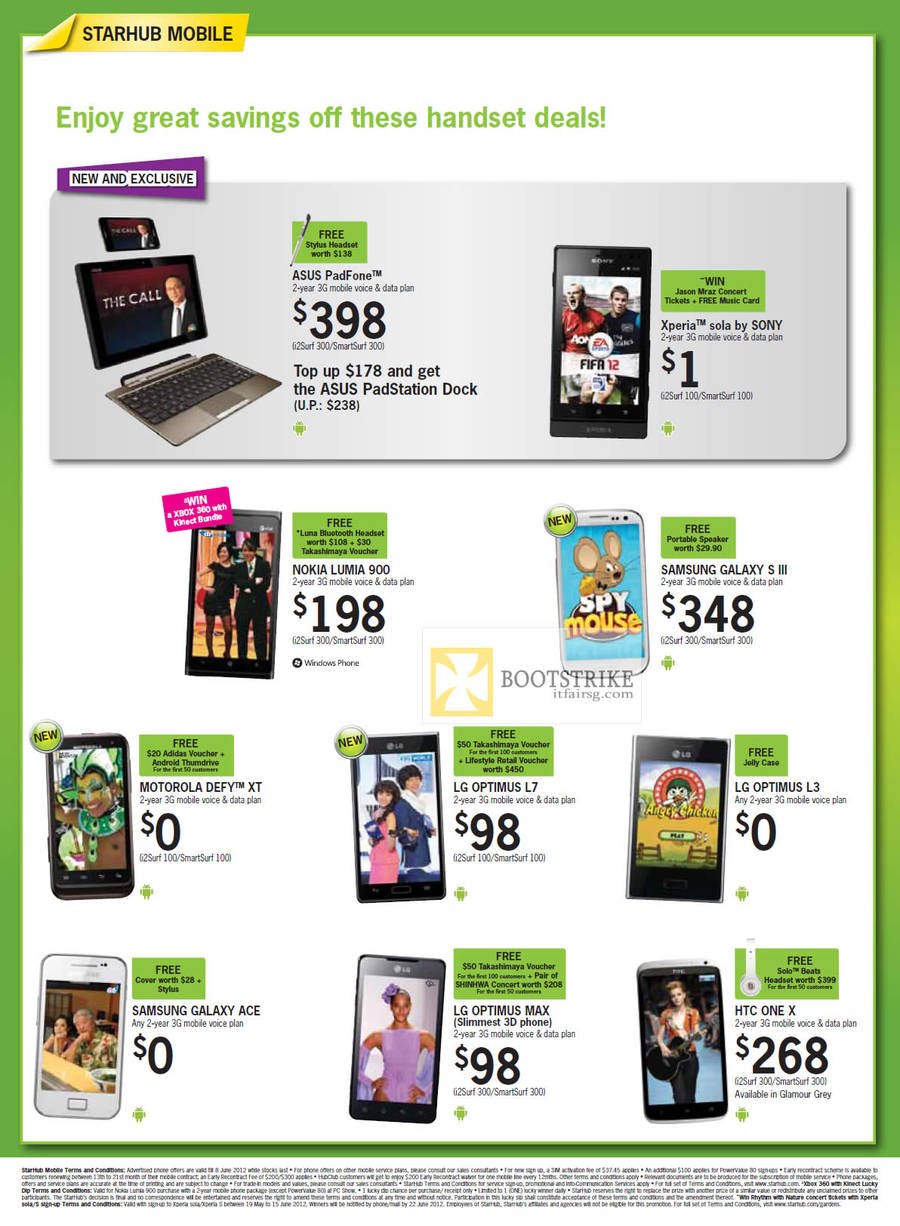 Mobile ASUS PadFone, Sony Xperia Sola, Nokia Lumia 900, Samsung Galaxy S III, Samsung Galaxy Ace, Motorola Defy XT, LG Optimus L7, LG Optimus L3, LG Optimus Max, HTC One X