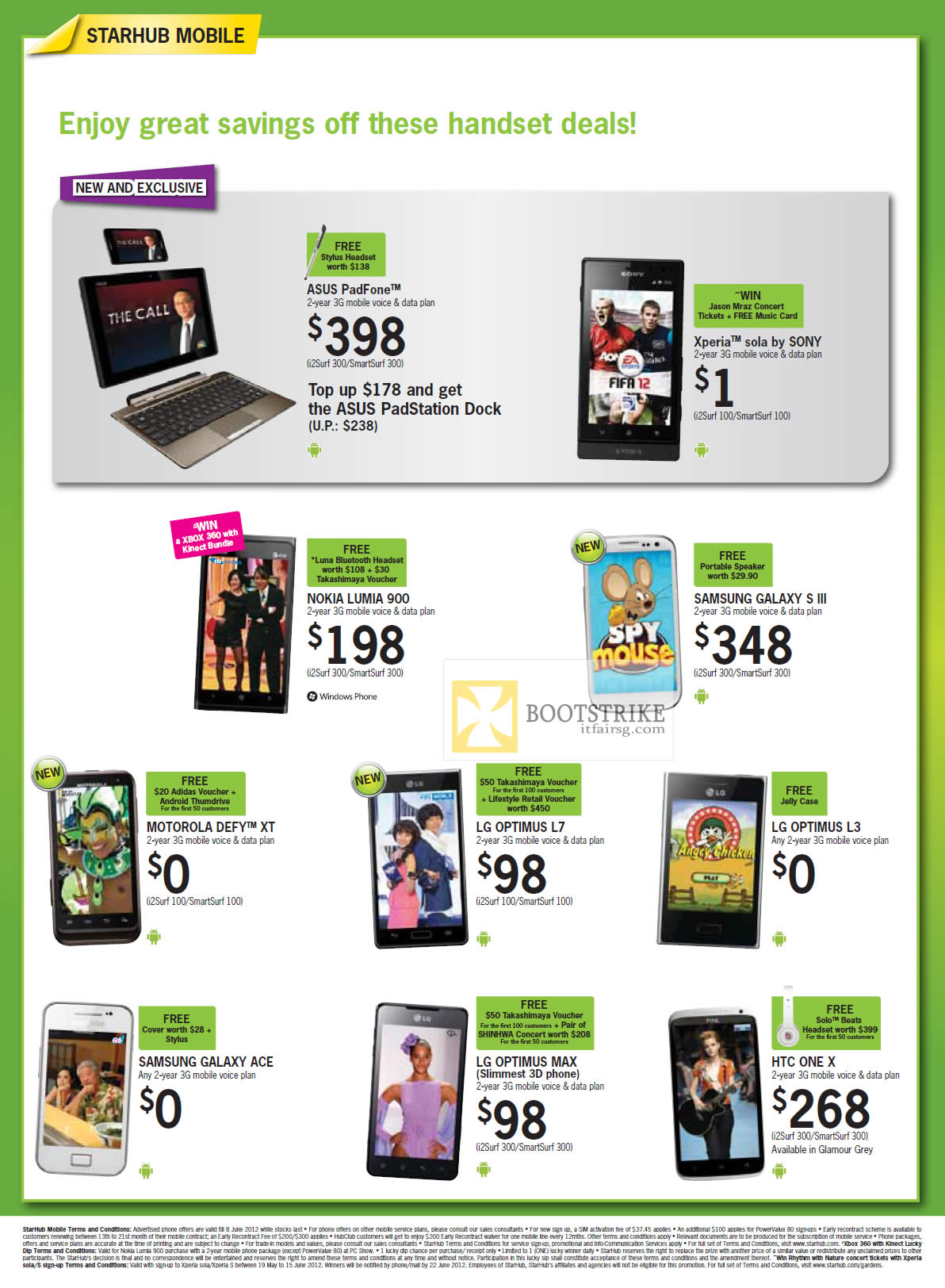 Mobile ASUS PadFone, Sony Xperia Sola, Nokia Lumia 900, Samsung Galaxy S III, Ace, Motorola Defy XT, LG Optimus L7, L3, Max, HTC One X
