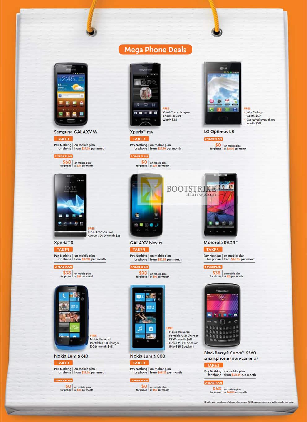 Samsung Galaxy W, Sony Xperia Ray, Sony Xperia S, LG Optimus L3, Galaxy Nexus, Motorola Razr, Nokia Lumia 610, Nokia Lumia 800, Blackberry Curve 9360