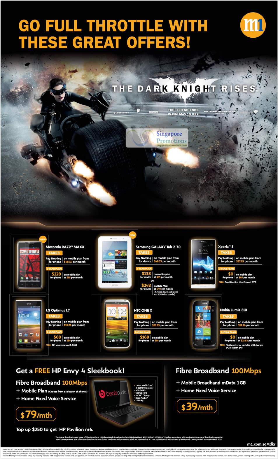 Motorola Razr Maxx, Samsung Galaxy Tab 2 7.0, Sony Xperia S, LG Optimus L7, HTC One X, Nokia Lumia 610, Broadband