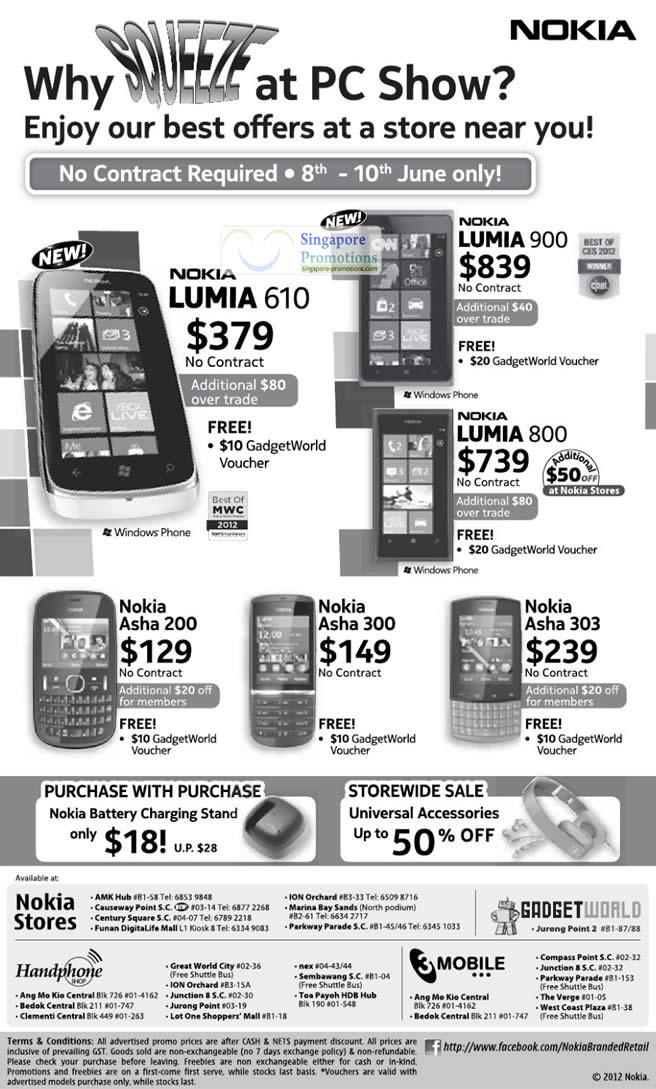 Nokia Lumia 610, Nokia Lumia 900, Nokia Lumia 800, Nokia Asha 200, Nokia Asha 300, Nokia Asha 303