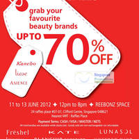 Read more about Reebonz Liese, Kanebo & Asience Sale Up To 70% Off @ Raffles Place 11 - 13 Jun 2012