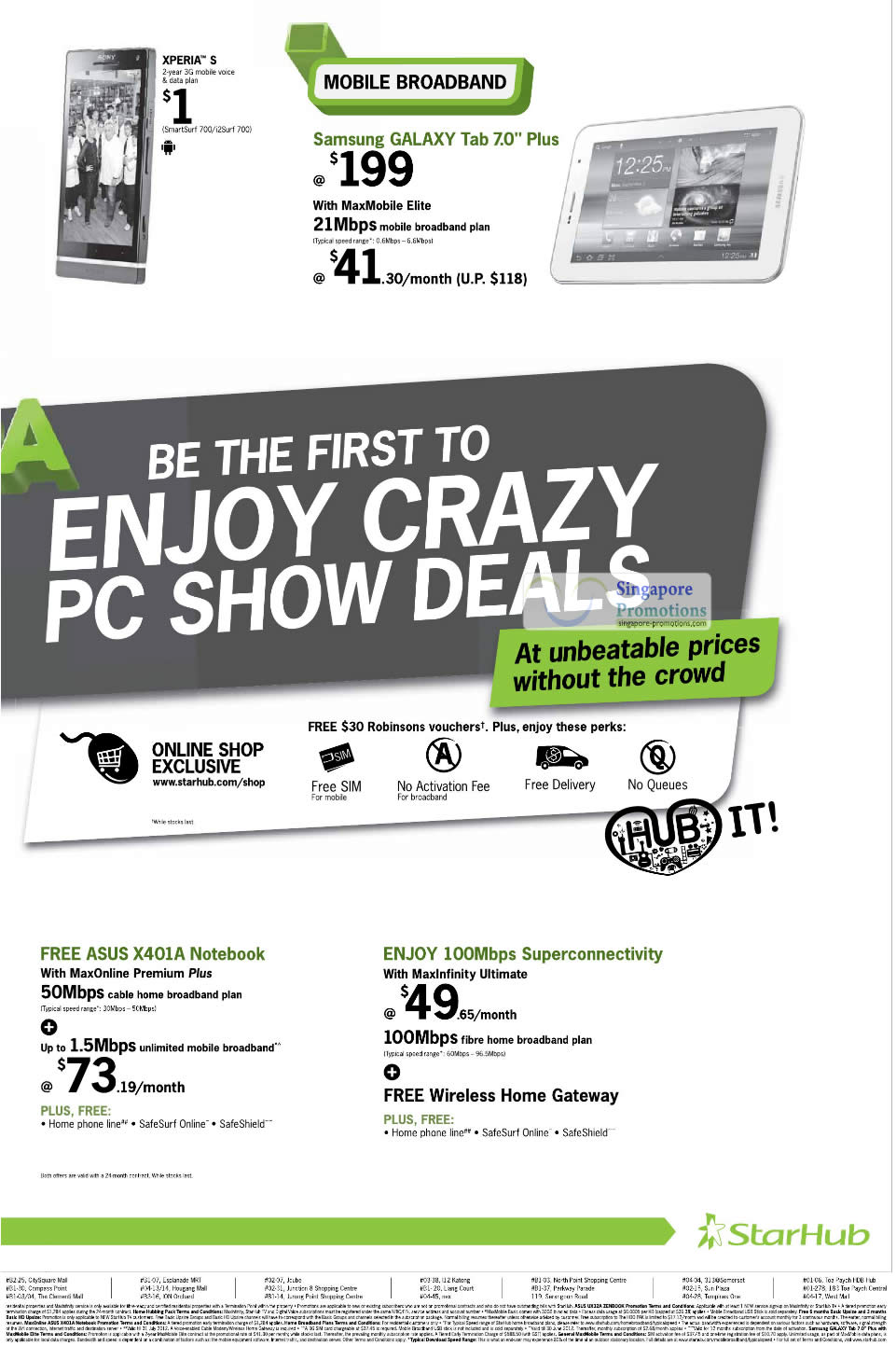 Sony Xperia S, Samsung Galaxy Tab 7.0 Plus, ASUS X401A Notebook