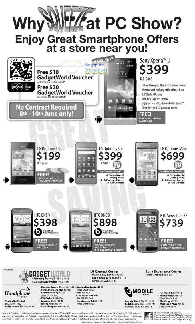 Sony Xperia U, LG Optimus L3, Sol, Max, HTC One V, X, XE