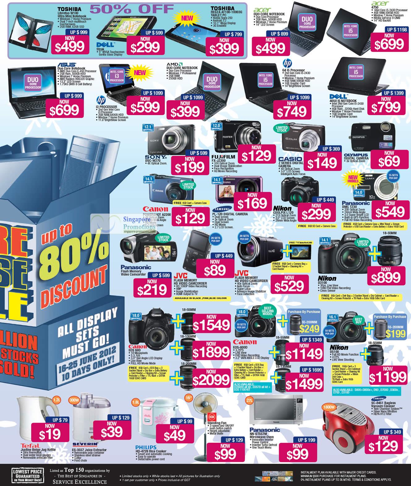Warehouse Sale Notebooks Digital Cameras