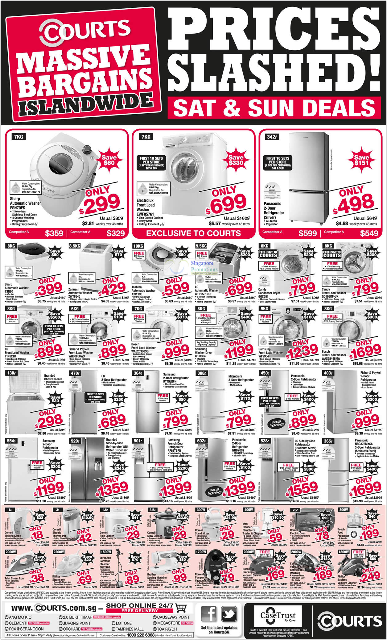 Washers, Dryers, Fridges, Sharp, Electrolux, Toshiba, Candy, Samsung, LG, Europace, Bosch