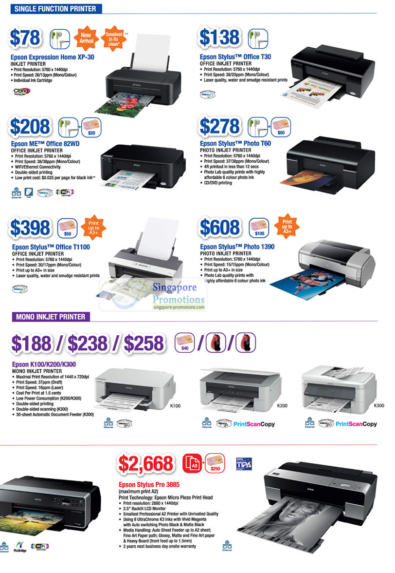 Epson Expression Printer Home XP-30, Epson Stylus Printer Office T30, Epson Stylus Printer T60, Epson ME Printer Office 82WD, Epson Stylus Printer Office T1100, Epson Stylus Printer 1390, Epson inkjet Printer K100, Epson inkjet Printer K200, Epson inkjet Printer K300, Epson Stylus Pro 3885