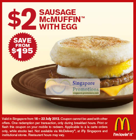 2 Dollar Sausage McMuffin With Egg Coupon