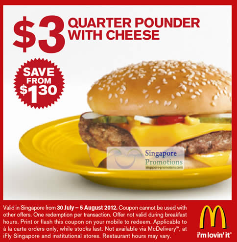 3 Dollar Quarter Pounder With Cheese Coupon