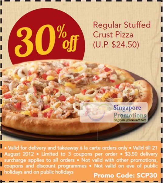 30 Percent Off Regular Stuffed Crust Pizza Coupon