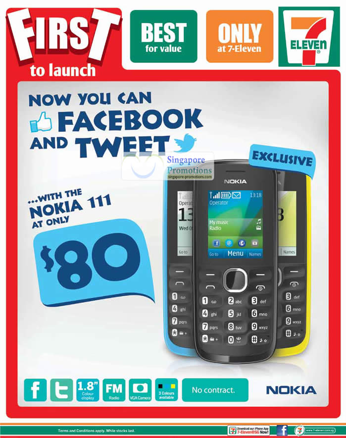 7 eleven nokia 111 mobile phone promotion offer 20 jul 2012. Black Bedroom Furniture Sets. Home Design Ideas