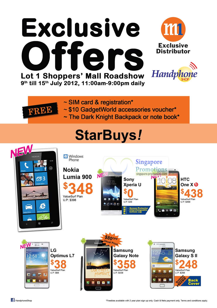 Handphone Shop Nokia Lumia 900, Sony Xperia U, HTC One X, LG Optimus L7, Samsung Galaxy Note, Samsung Galaxy S II