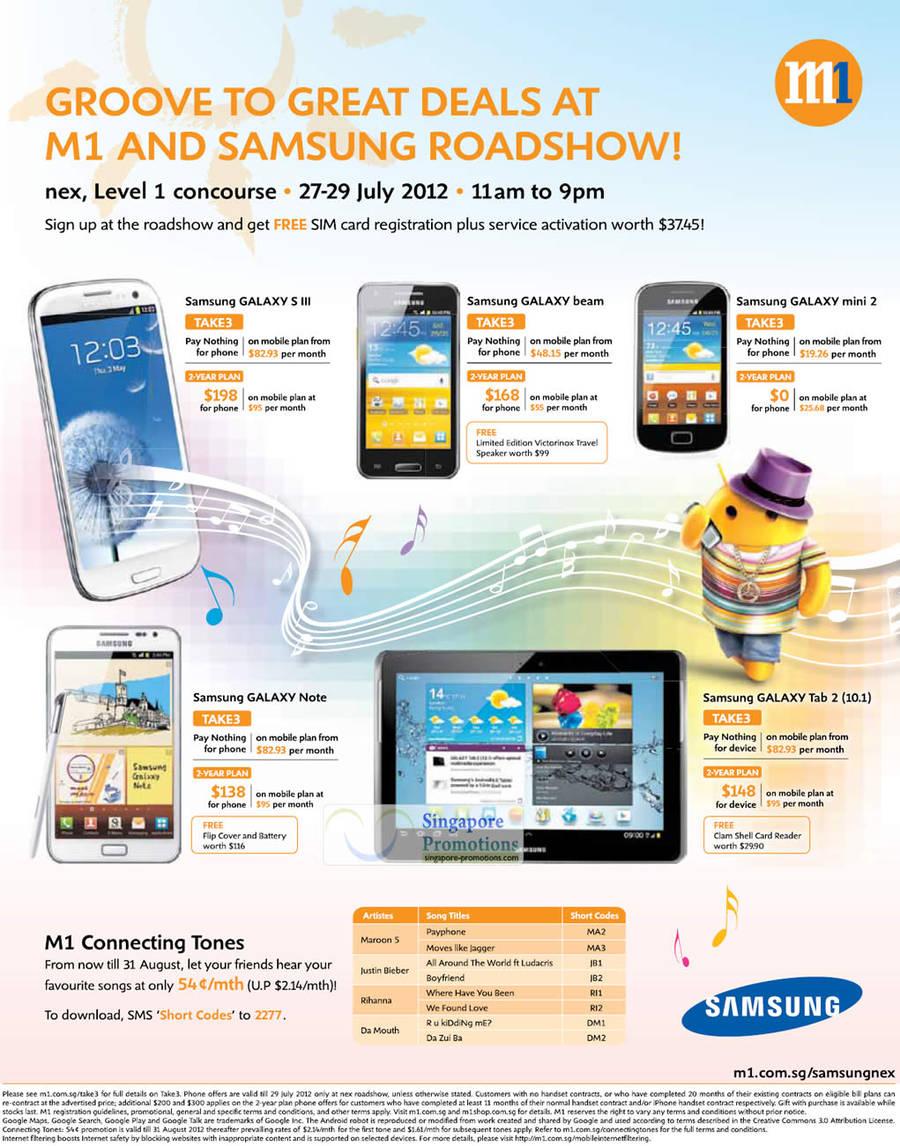 NEX Roadshow, Samsung Galaxy S III, Samsung Galaxy Beam, Samsung Galaxy Mini 2, Samsung Galaxy Note, Samsung Galaxy Tab 2 10.1