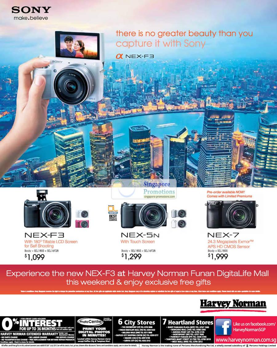 Sony NEX-7 DSLR Digital Camera, Sony NEX-5N DSLR Digital Camera, Sony NEX-F3 DSLR Digital Camera