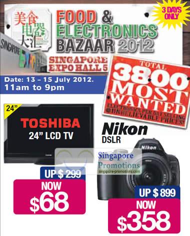 Toshiba 24 LCD TV, Nikon DSLR