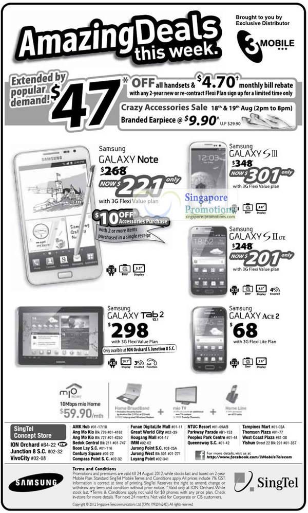 3Mobile Samsung Galaxy Note, S III, Samsung Galaxy S II LTE, Samsung Galaxy Tab 2 10.1, Samsung Galaxy Ace 2
