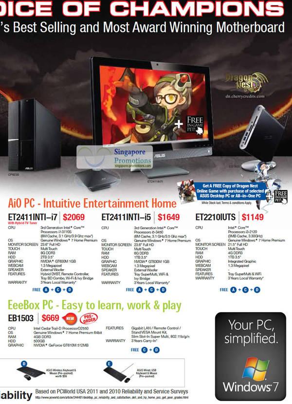 Asus AIO Desktop PC ET2411INTI, Asus AIO Desktop PC ET2411INTI, Asus AIO Desktop PC ET2210IUTS, Asus AIO Desktop PC EB1503