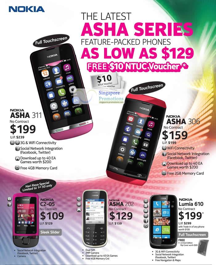 Nokia Asha 311, Nokia Asha 306, Nokia C2-05, Nokia Asha 202, Nokia Lumia 210
