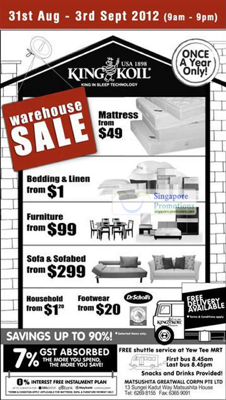 King Koil Warehouse Sale Details