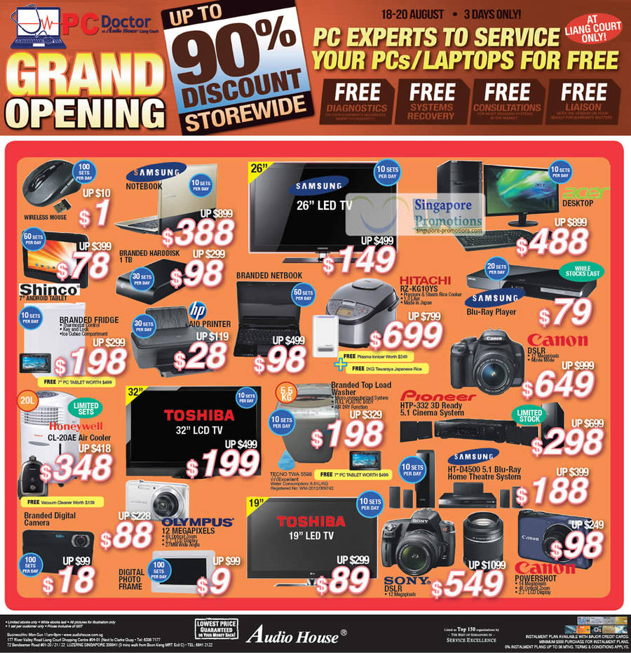 Honeywell CL-20AE Air Cooler, Tecno TWA5598 Washer, Samsung HT-D4500 Blu-Ray Home Theatre System, Pioneer HTP-332 3D Cinema System, HITACHI RZ-KG10YS Rice Cooker