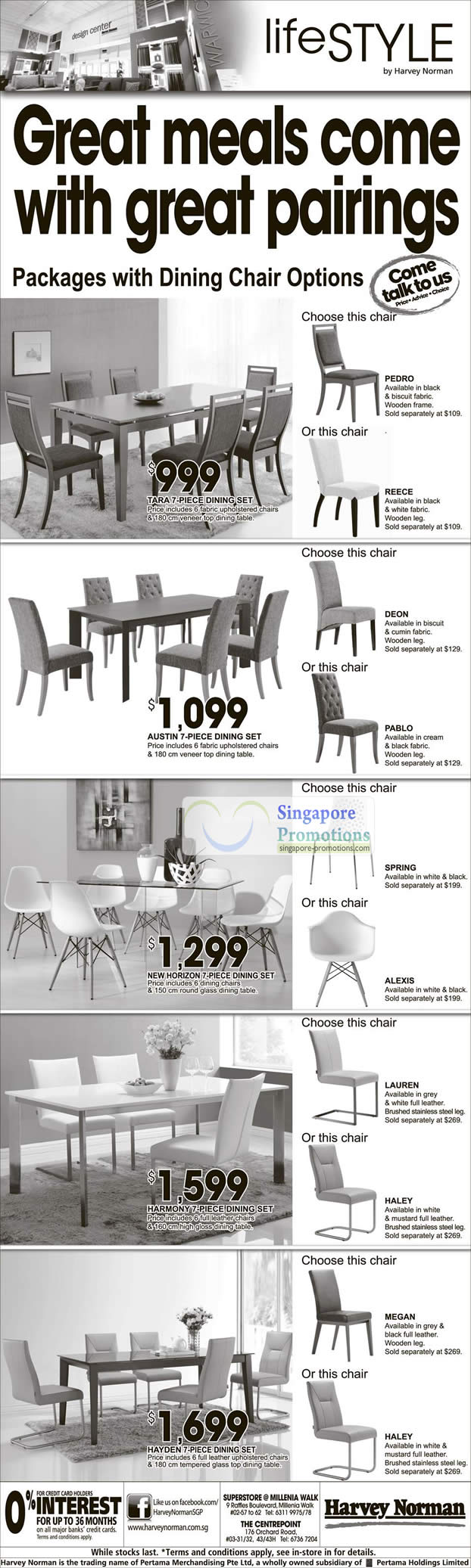 TARA DINING SET, AUSTIN DINING SET, NEW HORIZON DINING SET, HARMONY DINING SET, HAYDEN DINING SET