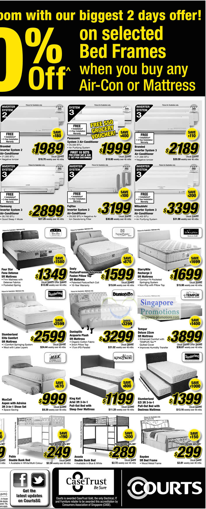 Sealy PosturePremier Advanced Fusion Pillow Top Mattress, StarryNite Recharge 3 Mattress, Dunlopillo Acquario Plush Mattress, MaxCoil Aspen Divan Set, King Koil Ariel Bed Frame, Anzola Double Bunk Bed Frame, Bayden Bed Frame, Slumberland EZI Bed Frame