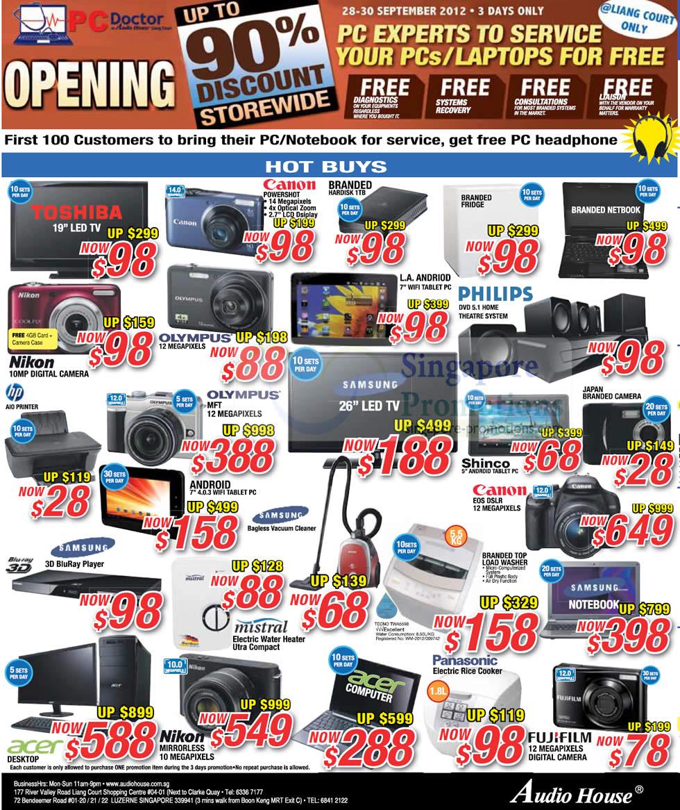 Digital Cameras, LED TVs, Home Appliances, Toshiba, Canon, Philips, Samsung, Olympus, Nikon, Mistral, Panasonic, Fujifilm