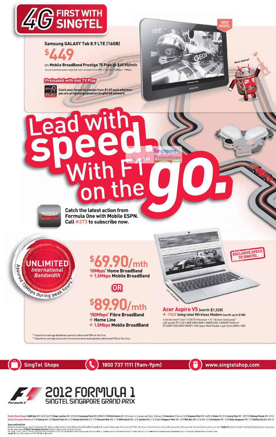 Samsung Galaxy Tab 8.9 LTE, ADSL Broadband Free Acer Aspire V5 Notebook