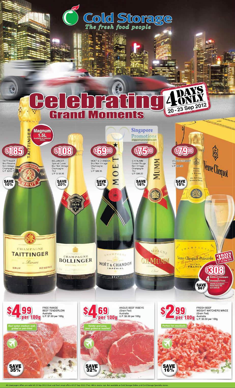 TAITTINGER Brut Reserve Non-Vintage Champagne, BOLLINGER Special Cuvee Brut Non-Vintage Champagne, MOET & CHANDON Brut Non-Vintage Champagne, G.H.MUMM Cordon Rouge Non-Vintage Champagne, VEUVE CLICQUOT