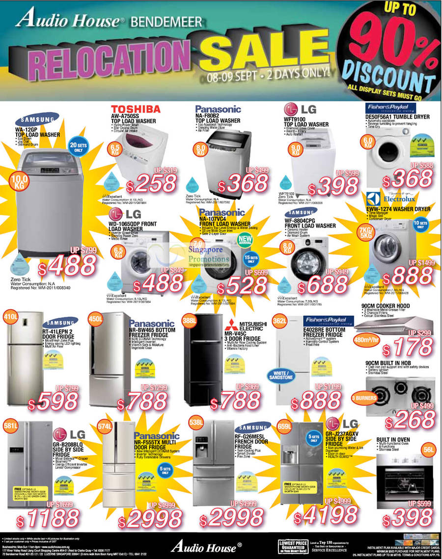 Samsung WA-12GP WASHER, SAMSUNG RT-41LEPN FRIDGE, LG GR-B208BLQ FRIDGE, Panasonic NR-F555TX FRIDGE, Panasonic NR-BW465 FRIDGE, LG WD-1065QDP WASHER, TOSHIBA AW-A750SS WASHER, Panasonic NA-F80B2 WASHER, Panasonic NA-107VC4 WASHER, MITSUBISHI ELECTRIC MR-V45C FRIDGE, Samsung RF-G26MESL FRIDGE, LG GR-J237AGXV FRIDGE, Fisher & Paykel E402BRE FRIDGE, Samsung WF-8804CPG WASHER, LG WFT9100 WASHER, Fisher & Paykel DE50F56A1 DRYER, Electrolux EWW-1274 WASHER