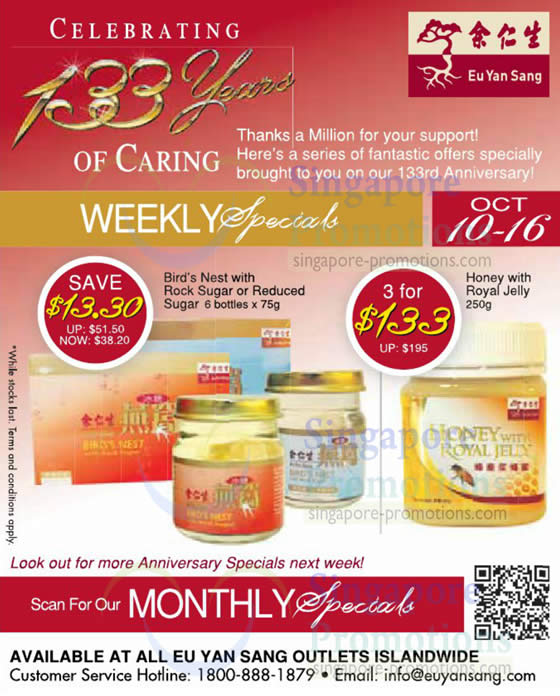 10 - 16 Oct Specials, Birds Nest With Rock Sugar, Honey with Royal Jelly