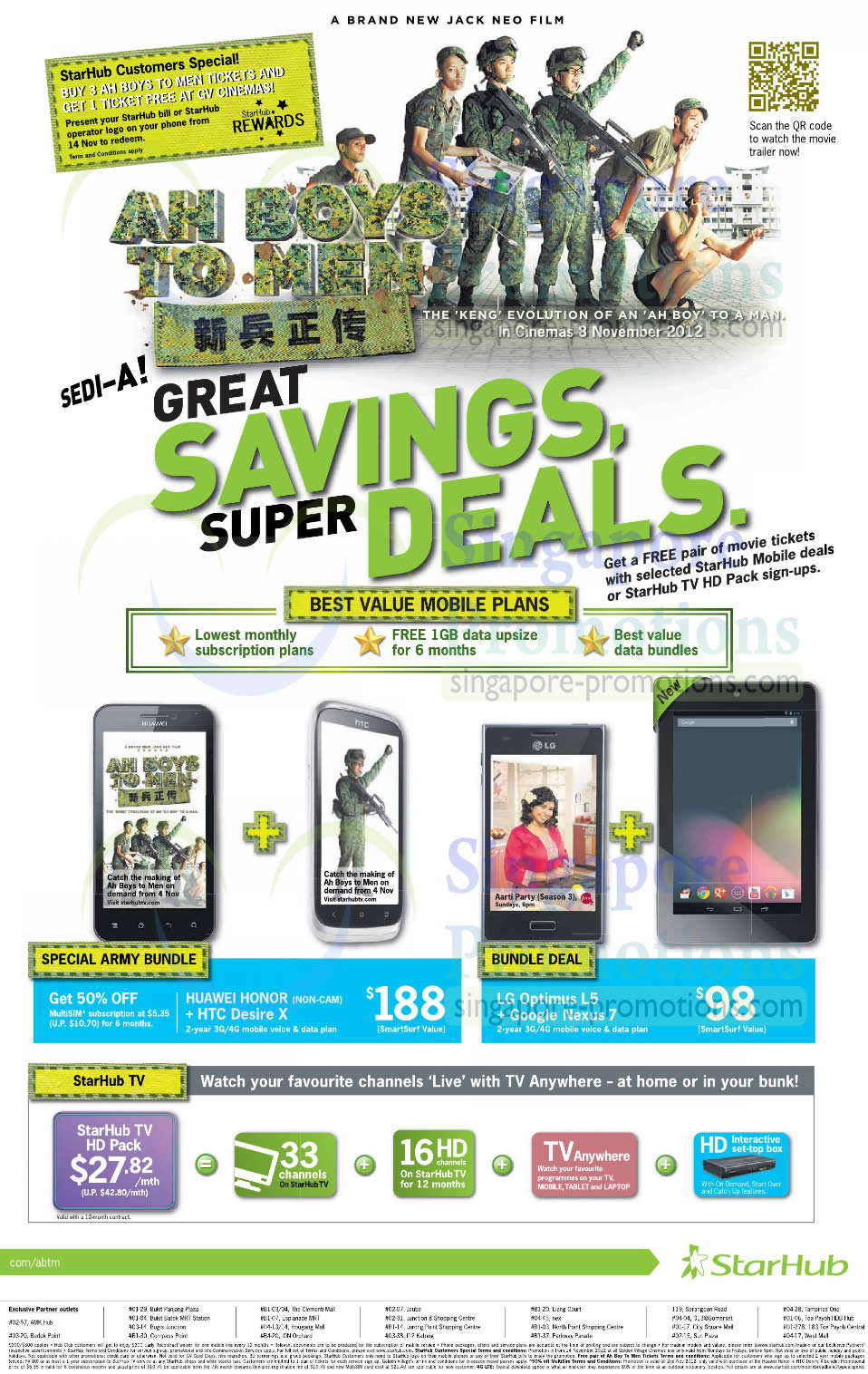 Army Bundle Huawei Honor n HTC Desire X, LG Optimus L5 n Google Nexus 7, Cable TV