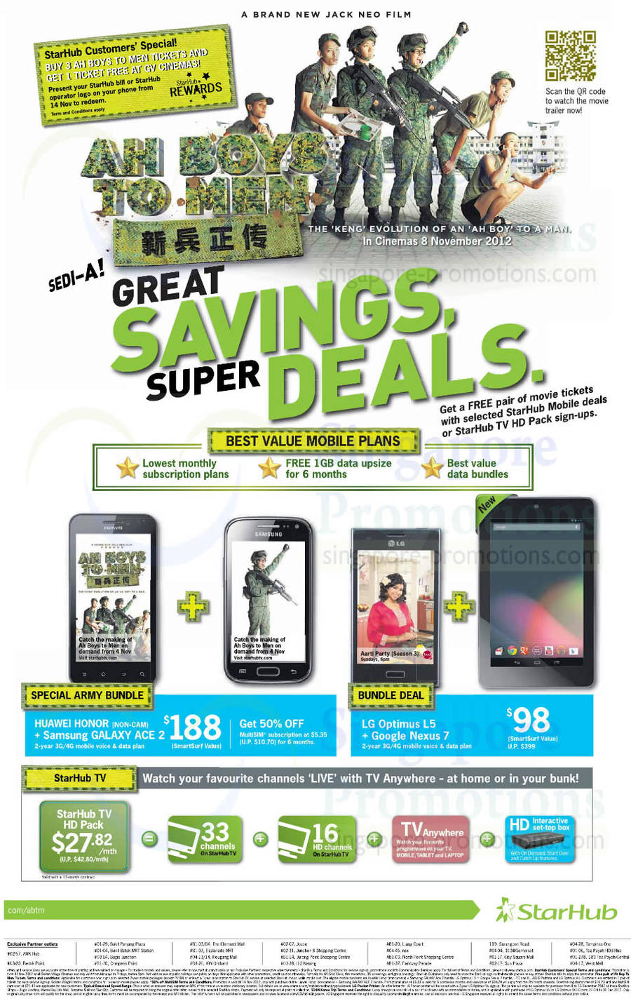 Army Bundle Huawei Honor n Samsung Galaxy Ace 2, LG Optimus L5 n Google Nexus 7, Cable TV