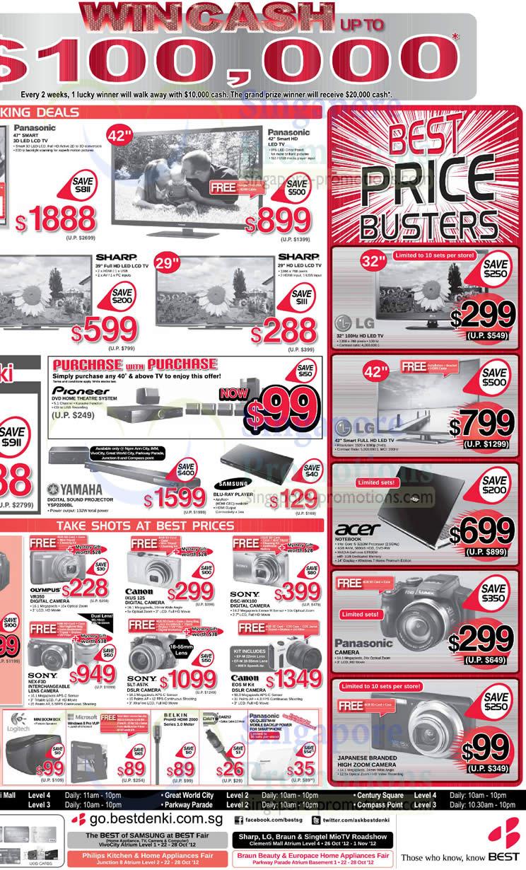 Yamaha Digital Sound Projector YSP2200BL, Olympus VR350 Digital Camera, Canon IXUS 125 Digital Camera, Sony DSC-WX100 Digital Camera, Sony NEX-F3D Digital Camera, Sony SLT-A57K DSLR Digital Camera