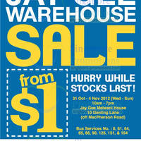 Read more about Jay Gee Warehouse Sale From $1 @ Jay Gee Melwani House 31 Oct - 8 Nov 2012