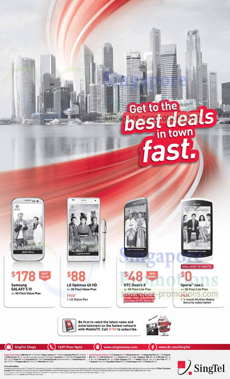 Samsung Galaxy S III, LG Optimus 4X HD, HTC Desire X, Sony Xperia Neo L
