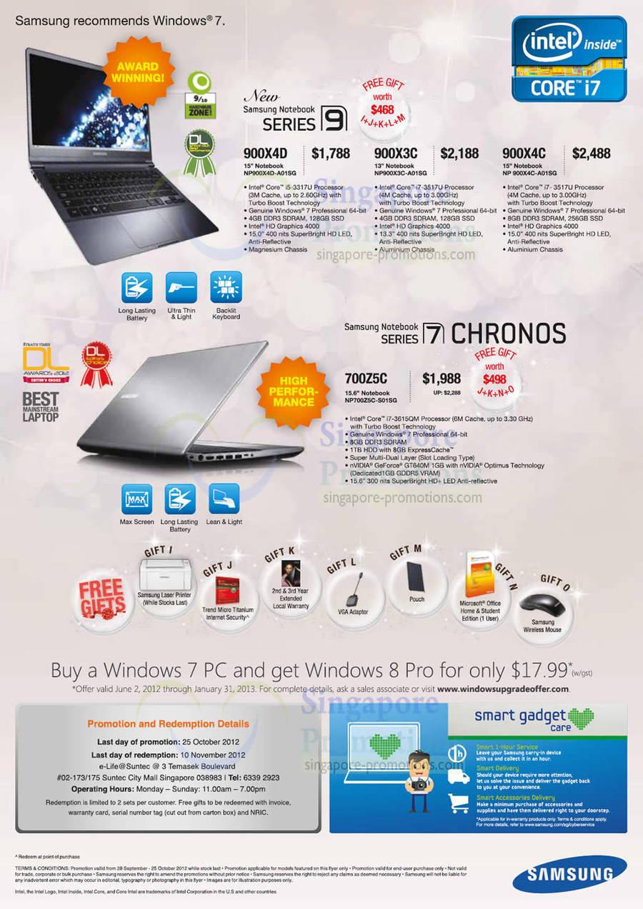 Samsung NP900X4D-A01SG Notebook, Samsung NP900X3C-A01SG Notebook, Samsung NP900XCC-A01SG Notebook, Samsung NP700Z5C-S01SG Notebook
