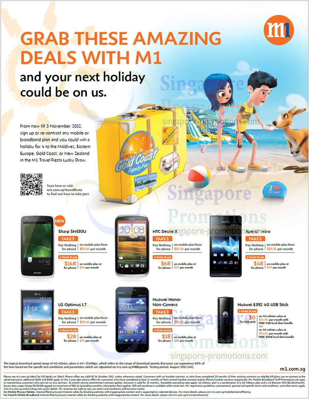 Sharp SH530U, HTC Desire X, Sony Xperia Miro, LG Optimus L7, Huawei Honor, E392