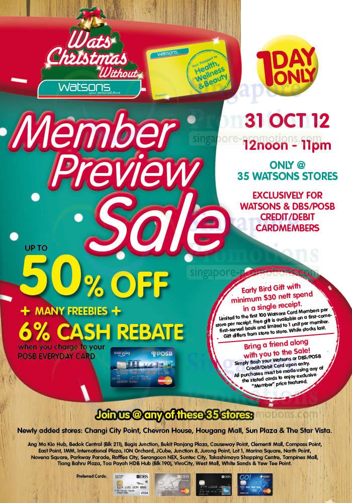 Watsons 30 Oct 2012