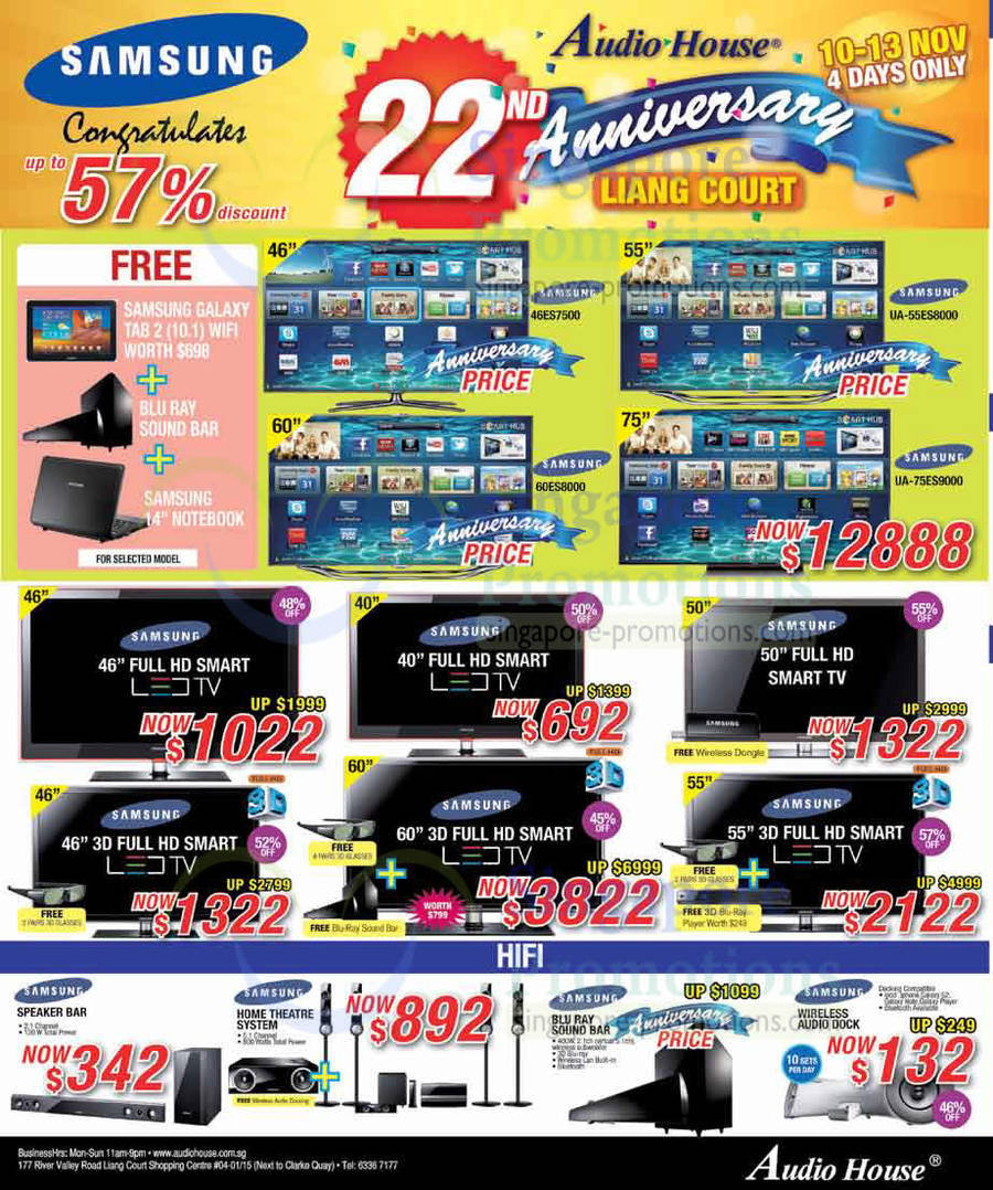 10 nov samsung 46es7500 led tv 60es8000 ua55es8000 ua75es9000 audio house 22nd anniversary. Black Bedroom Furniture Sets. Home Design Ideas