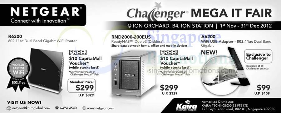 Netgear R6300 Router, Netgear RND2000-200EUS NAS, Netgear A6200 WiFi USB Adapter