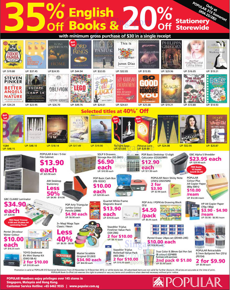 313 Somerset 35 Percent Off English Books, 20 Percent Off Stationery