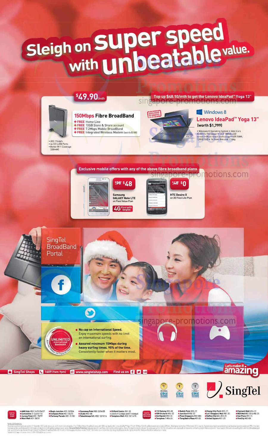 49.90 150Mbps Fibre Broadband, Fixed Line, Free Lenovo Ideapad Yoga 13 Ultrabook, Samsung Galaxy Note LTE, HTC Desire X