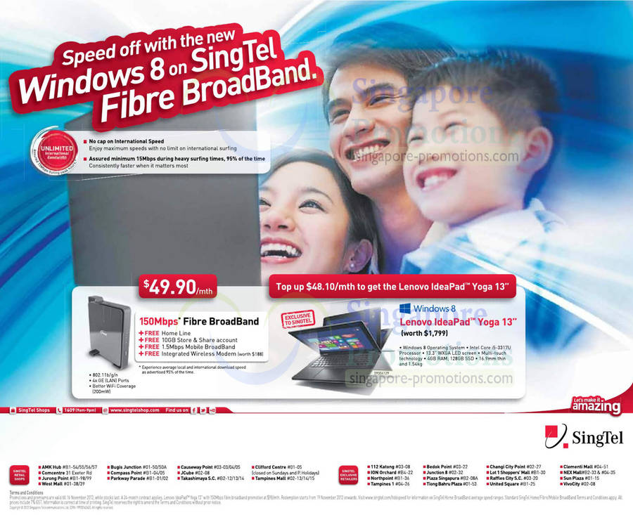 49.90 150Mbps Fibre Broadband, Fixed Line, Mobile Broadband, Modem, Lenovo IdeaPad Yoga 13 Notebook
