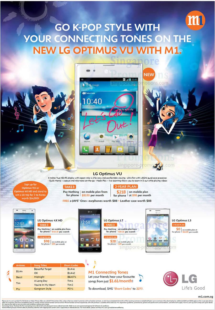 LG Optimus VU, LG Optimus 4X HD, LG Optimus L7, LG Optimus L3